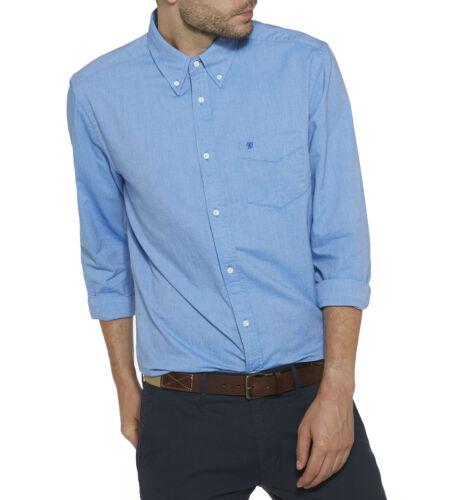 Wrangler Men's Cotton Oxford Shirt Regular Fit Long Sleeve Button Down Deep Blue