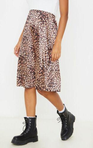 FJ202 PRETTY LITTLE THING Satin Leopard Print Midi Skirt