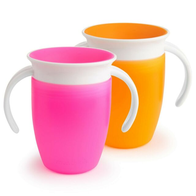 Green//Blue Or Pink//Orange 2 Count Munchkin Miracle 360 Sippy Cup 10 Ounce
