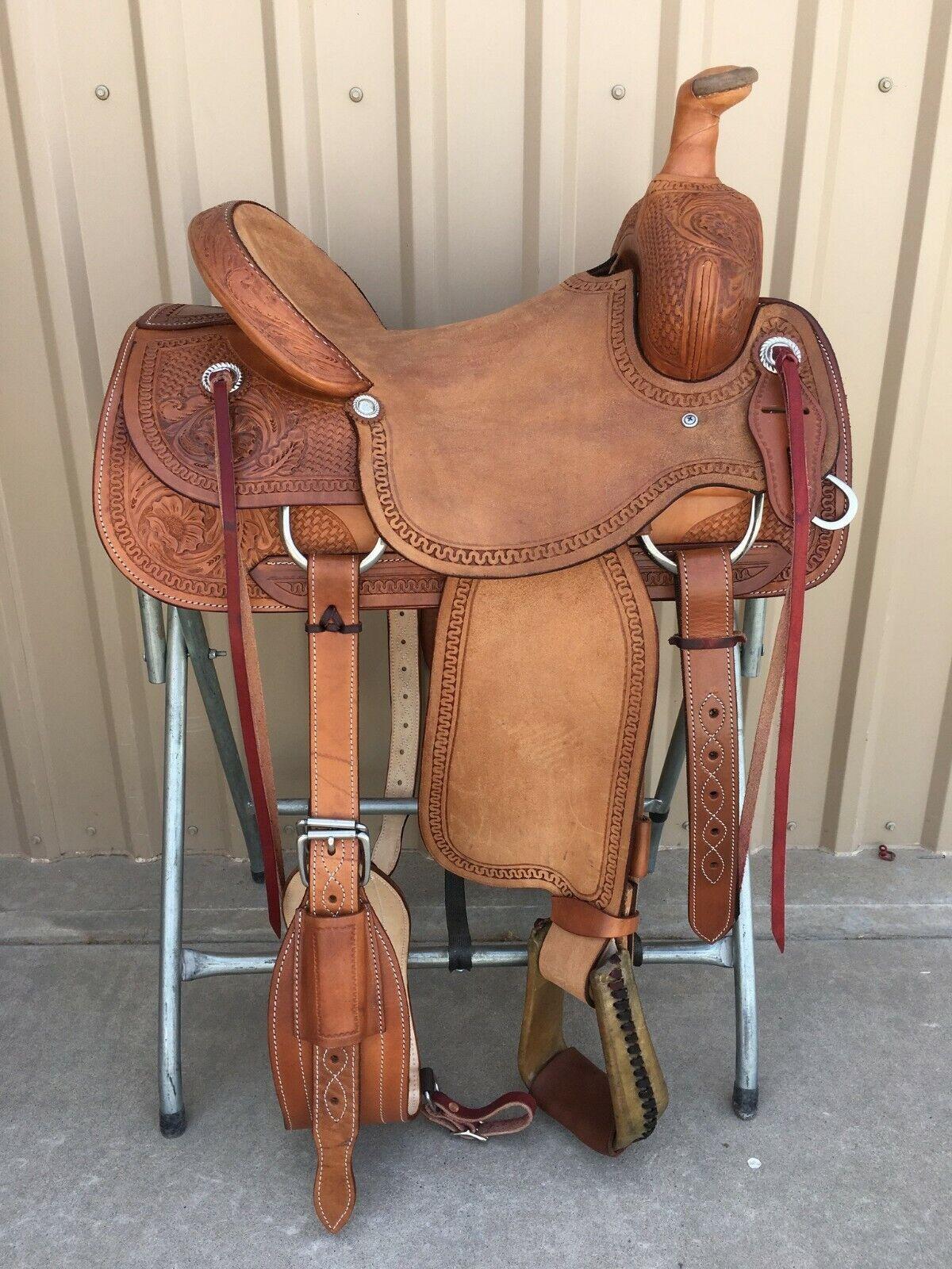 Western Rancho Roper de cuero natural Silla con cuerdas 15 , 16 , 17 , 18 ,