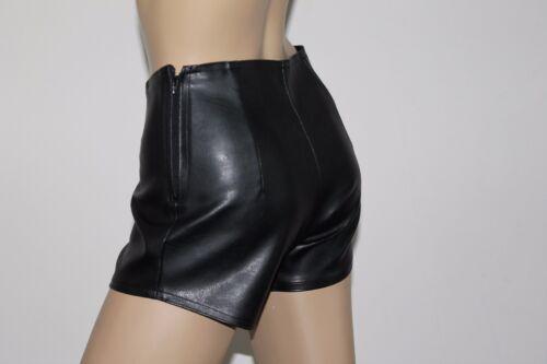 Donna Nero Finto Similpelle Vita Alta Hot Pants Taglie 6-18