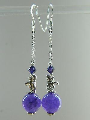 Amethyst & Swarovski Crystal, Tibetan Dragonfly & 925 Silver Long Drop Earrings