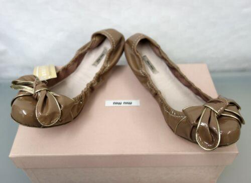 verniciata 37 in Prada in oro 5 Ballerina gr pelle pelle marrone Pantofola Miu Slipper xqBPwgx
