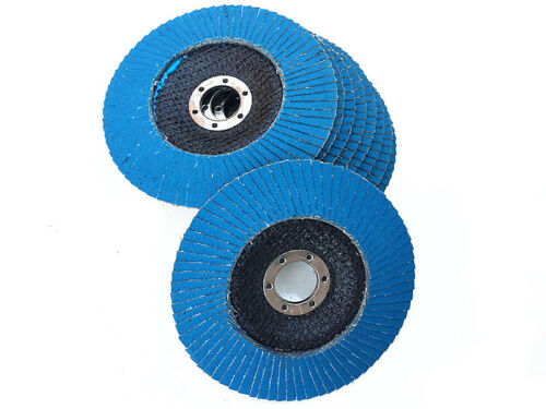 "10 x 125mm 5"" STEELSTAINLESS STEEL FLAP DISCS WHEELS 120 grit 4 ANGLE GRINDER"