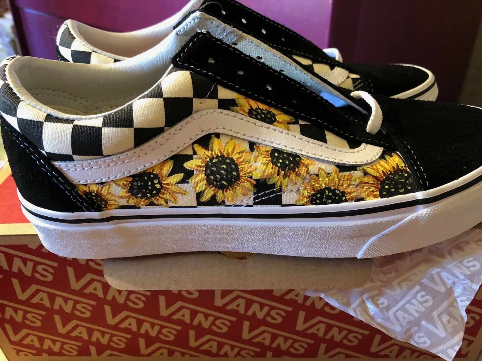 Vans Old Skool Classic schuhe (Checkerot) Suede Canvas Hand Painted Sunflower NEW