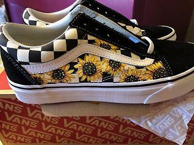 white checkered sunflower vans