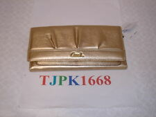 NWT COACH~Gold~Soho Pleated Leather Slim Envelope Wallet F44624