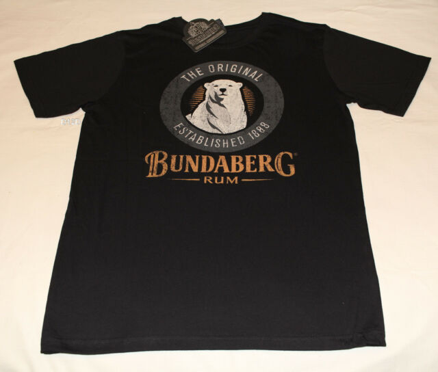 Bundaberg Rum Bear Logo Mens Black Printed Short Sleeve T Shirt Size L New