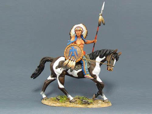 Team Miniatures IDA6003 1 30 30 30 Scale Tatanka's People Sioux Warrior on Horse MIB 086ca5