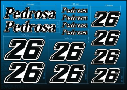 16pc Classic Style Dani PEDROSA 26 Race Number Sticker Decal Pegatinas Adhesivas