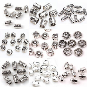 100Pcs-Tibet-Silver-Beads-Spacer-For-Jewelry-Making-Charms-Loose-Rondelles-Craft
