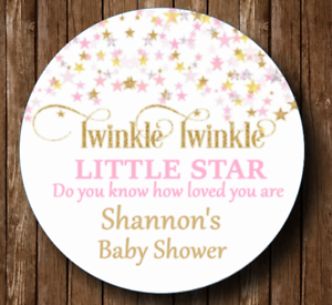 30 round girl baby shower stickers,favors,twinkle twinkle little star,tags,label