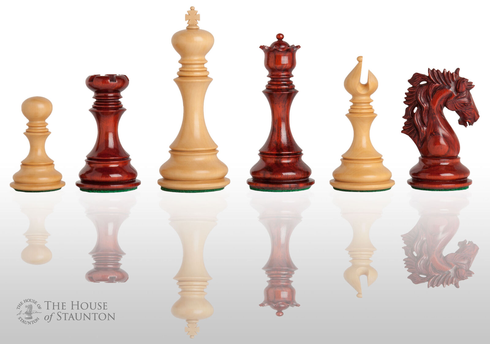 The Novara Luxury Chess Set - Pieces Only - 4.4  King - Blood pinkwood