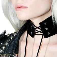 Vintage Gothic Black suede leather Retro Choker Collar Bib Necklace