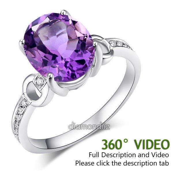 14K White gold Wedding Engagement 3.5 Ct Amethyst Ring 0.097 Ct Natural Diamond