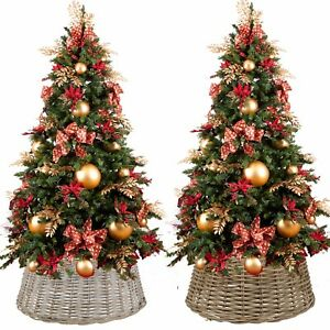 Large Willow Christmas Tree Skirt Xmas Rattan Wicker