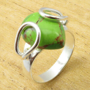 Classic-Green-Copper-Turquoise-Size-10-25-Ring-UNUSUAL-Silver-Plated-Jewelry-NEW