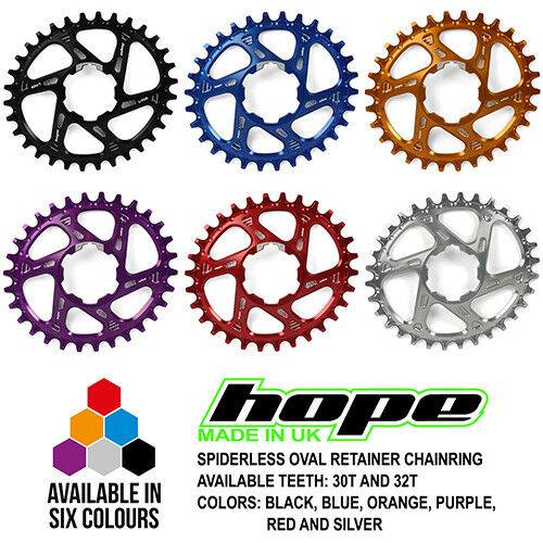 Hope Spiderless Oval Retainer Ring Chairing - 28T 30T 32T - Alle Farben - Neu