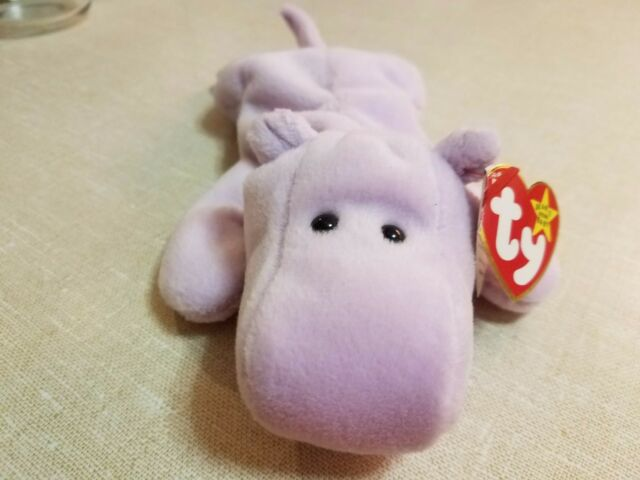 e1bc3f3d4b0 TY 3rd Generation Beanie Baby Happy the Hippo 4th Gen Tush Tag RETIRED WT