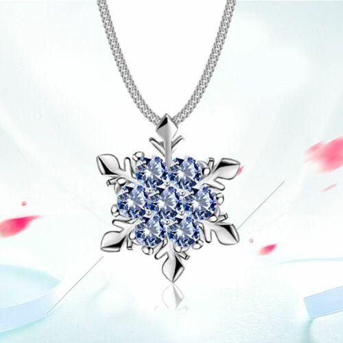 Moda Mujeres Plata Cadena Collar Colgante de Cristal Copo de Nieve Navidad