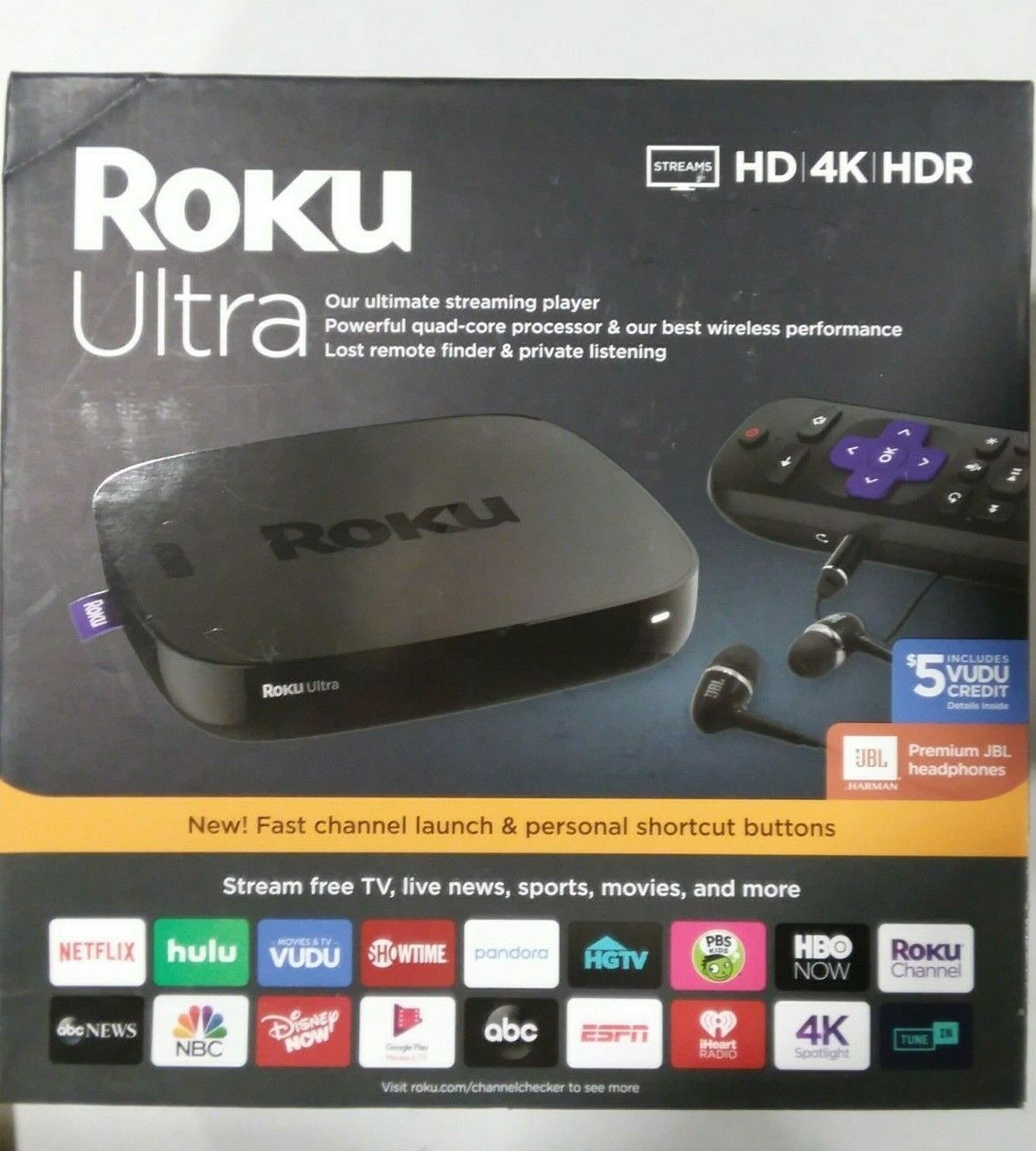 Roku Ultra Streaming Media Player 4K/HD/HDR Premium JBL Headphones headphones jbl media player premium roku streaming ultra