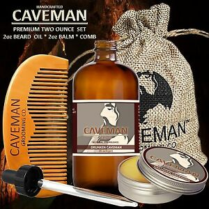 Hand Crafted Caveman® Beard Oil Set Kit Beard Oil Balm Free Beard Soap Comb