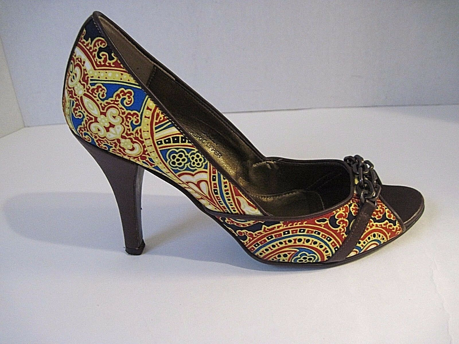 J.CREW Paisley Fabric Front Chain Heel Made In Italy #86221  Size 6  268