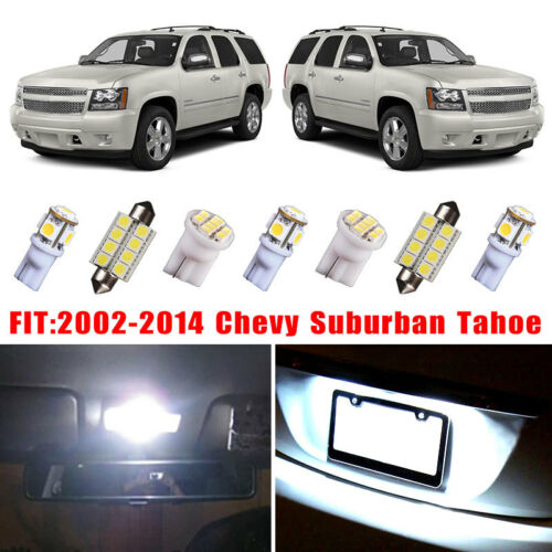 14x White LED Bulb Interior Light Package Kit For 2002-2014 Chevy Suburban Tahoe