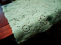 "Baby Blanket Green Yellow Handmade 28"" X 28"" Crib Cradle Receiving Crochet"