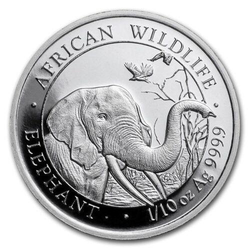 SILVER ELEPHANT COIN BU UNC SOMALIA 10 SHILLINGS 2018 9999 1//10 OZ