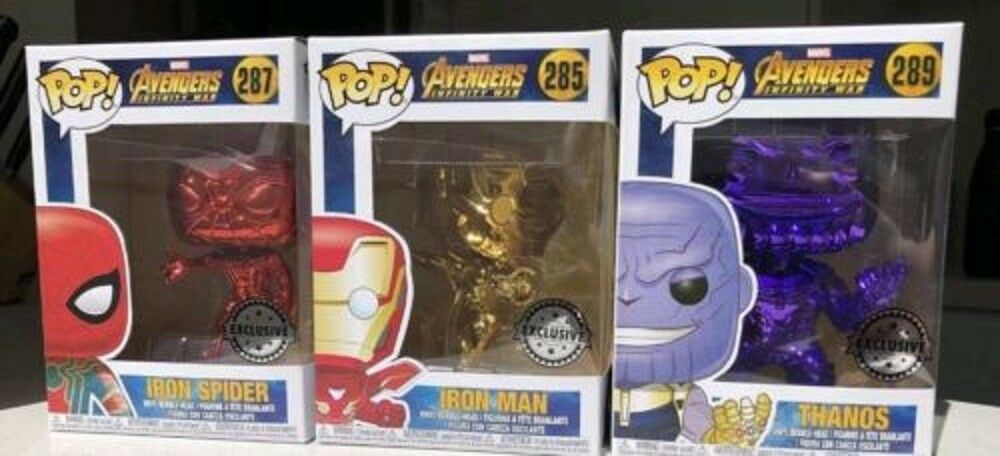 Avengers Infinity War Chrome POP Vinyl Set Iron Man Thanos Spider-Man MINT + P/P