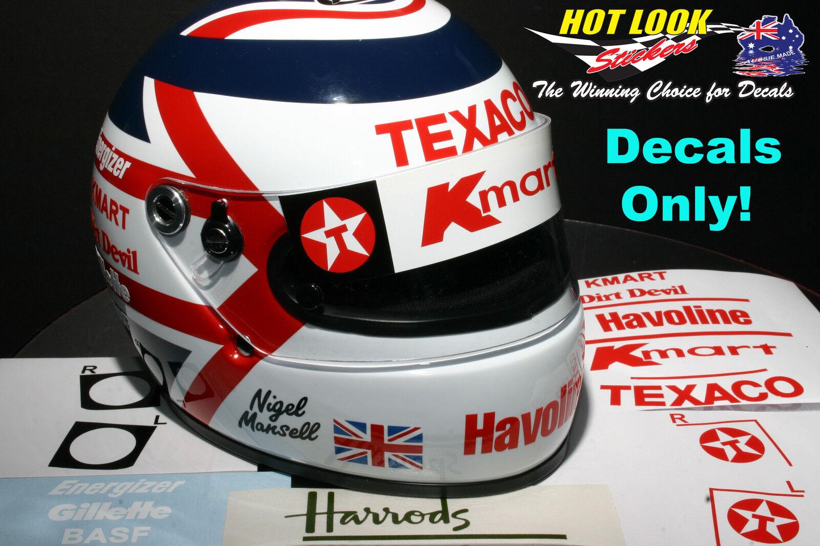 Nigel Mansell Arai 1 2 Helmet Missing Decals cut Vinyl 1993 Indy Car Champion