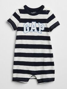085f85a6eed1 NWT BABY GAP shorts logo romper shorty one-piece navy stripe you ...