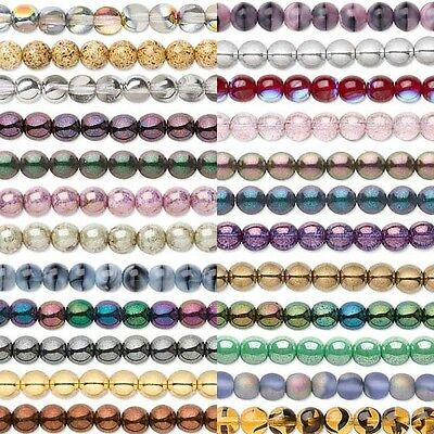 Round Czech Glass Beads, Druks in Many Fancy Finishes & Sized on 16 inch Strand