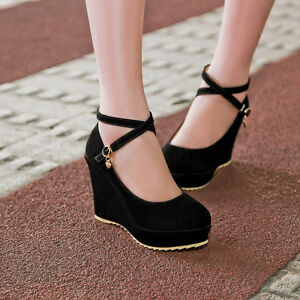 NEW-Women-wedge-High-Heels-lace-up-Platform-Straps-Pumps-Faux-suede-US-All-Size