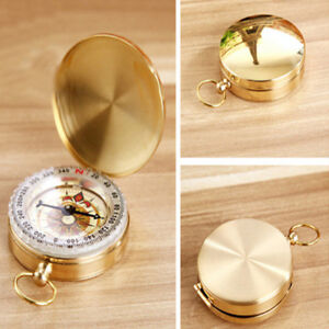 Portable Brass Pocket Watch Outdoor Camping Hiking Compass Navigation Keychain