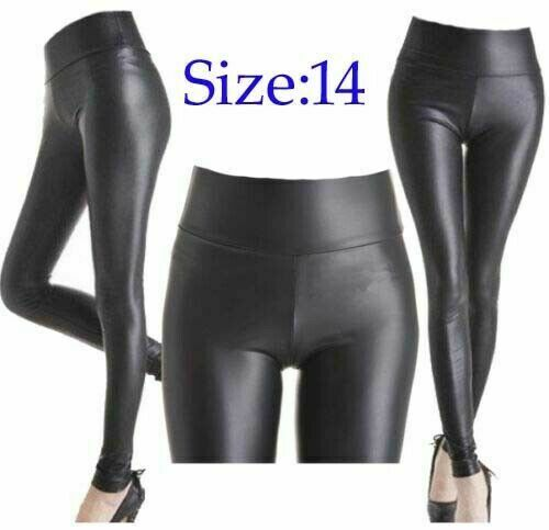Ladies High Waist Black Faux Leather Leggings Wet Look Shiny Stretchy Tight Pant
