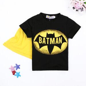 Boys Batman T shirt Marvel Superhero T shirt with Cape Avengers Infinity War