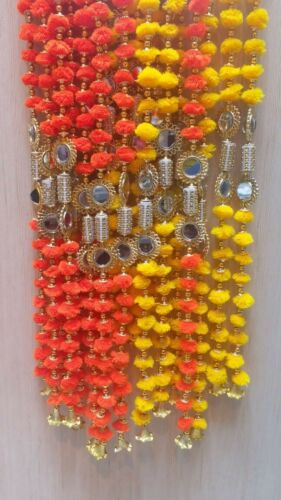 Indian Handmade Pom Pom Garland with mirrors and bells 5 feet approx pack of 2pc