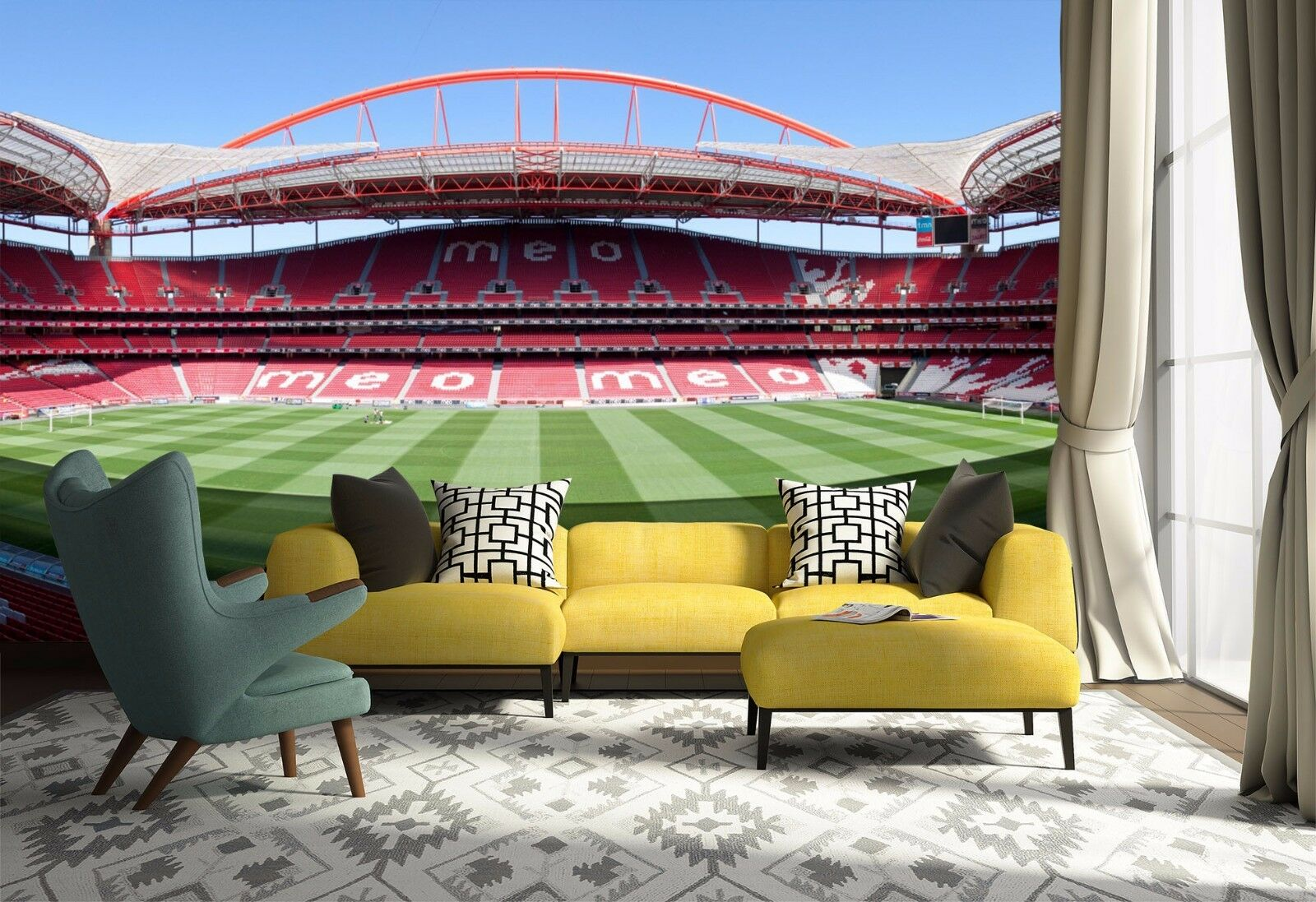 3D Soccer Field Sky 911 Wallpaper Mural Paper Wall Print Wallpaper Murals UK