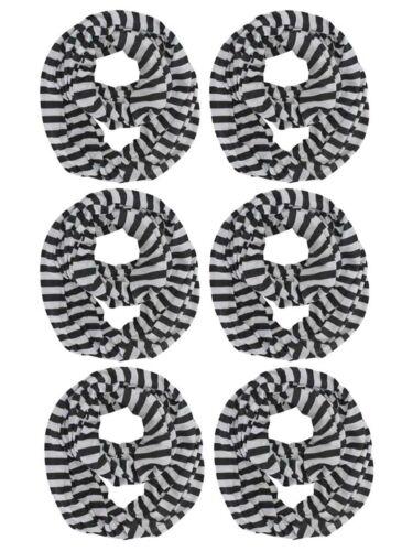 BLACK /& WHITE STRIPE 6-PACK WHOLESALE INFINITY SCARF LOT