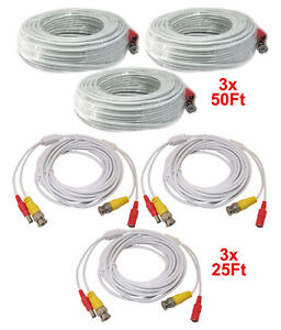Home surveillance 3pcs 50 feet 3pcs 25 feet white cable cctv security camera power video cable publicscrutiny Image collections