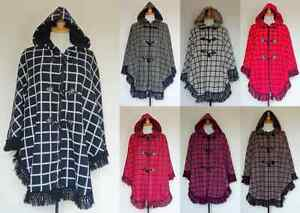 NEW-LADIES-FLEECE-HOODED-CHECK-WARM-ZIP-TOGGLE-PONCHO-CAPE-SHAWL-PLUS-SIZE-16-32