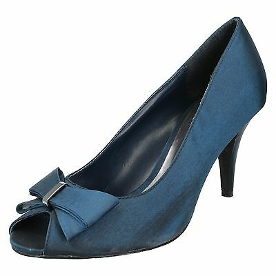 las señoras Anne Michelle Tacón Alto peep-toe Adorno Lazo Zapatos De Salón L2914