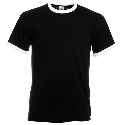 FRUIT OF THE LOOM MENS RINGER T-SHIRT CONTRAST TWO TONE SHORT SLEEVE TEE S- XXL