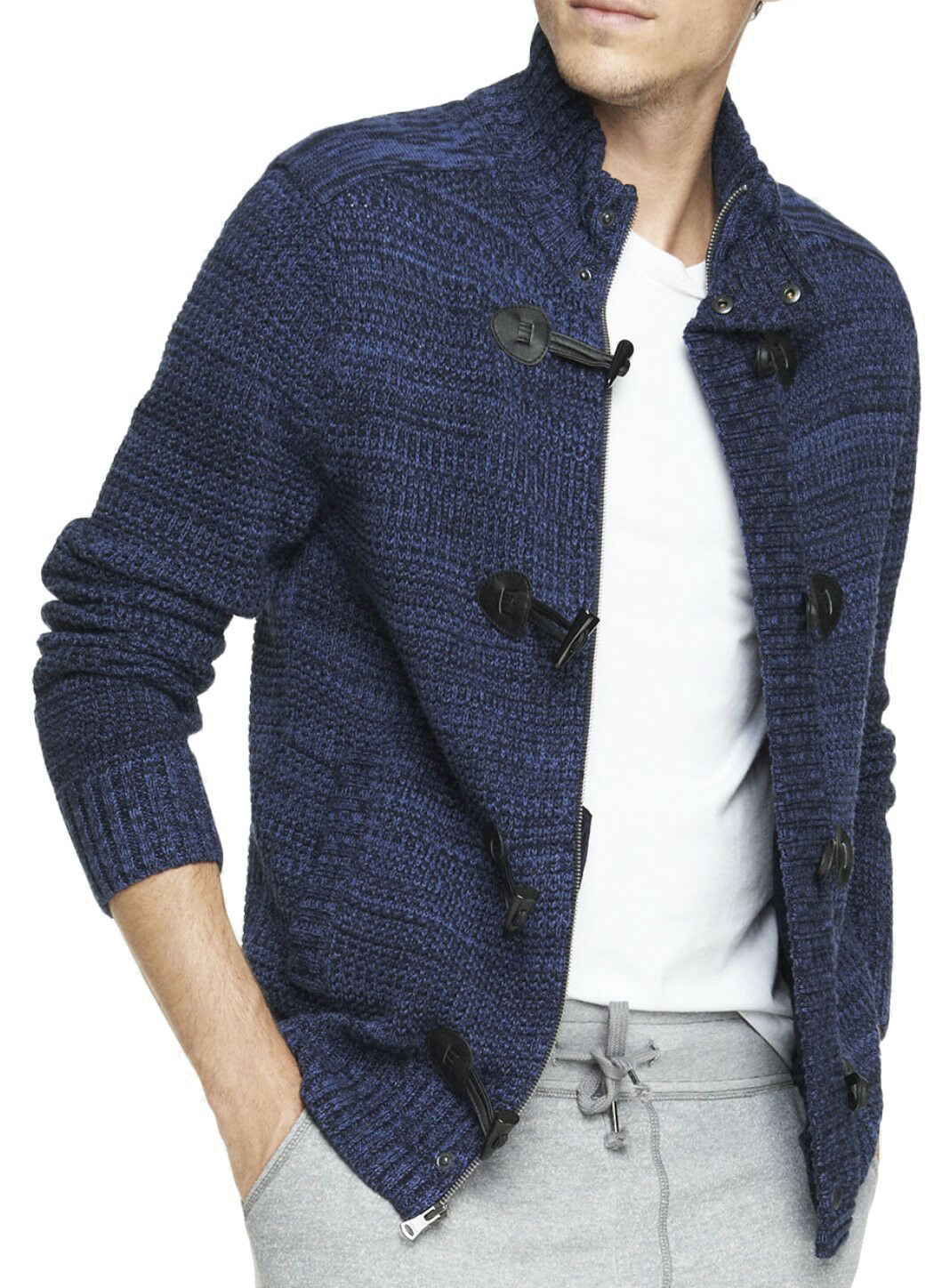 New EXPRESS Men's Marled Waffle Knit Toggle Cardigan Sweater, NWT【L】【】 LAST