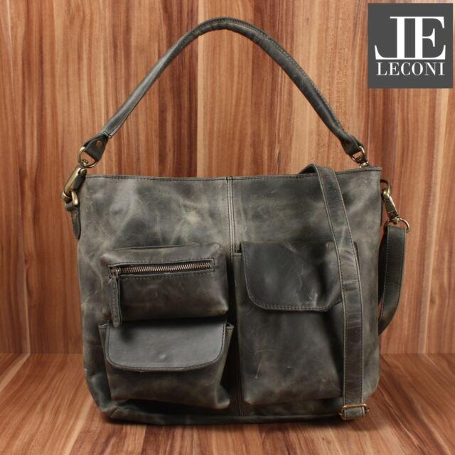 b03591610d7cd LECONI Schultertasche Vintage Leder Damen Shopper Handtasche grau LE0039-wax