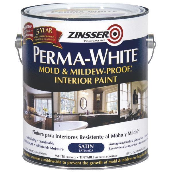 1 Gal White Zinsser Perma-White Mold & Mildew-Proof Interior Satin Paint 2711