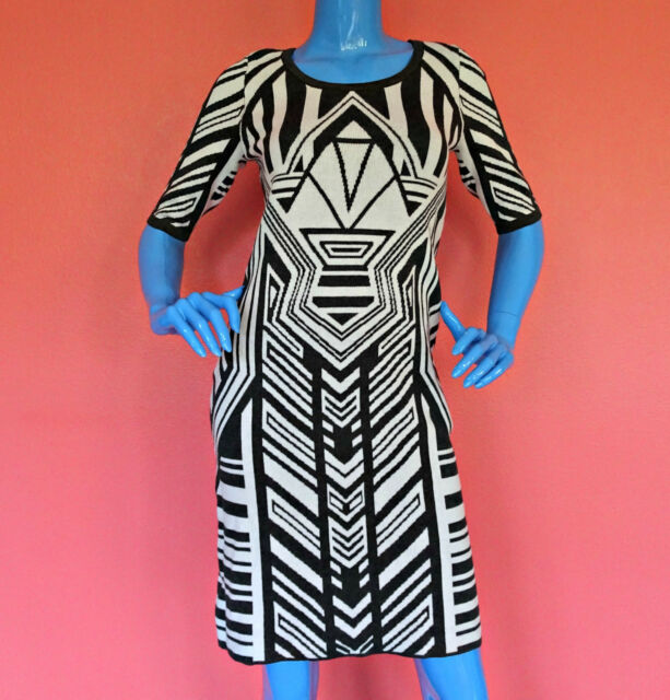 Fitted Bodycon Sweater Knit Dress M 8 10 12 Stretch Geometric Slim Fit Pencil