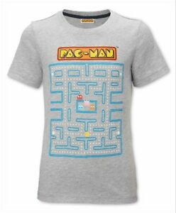 Kids Grey Pac-Man T-Shirt Retro Gamer Character Top Short Sleeve Tee 5-12 Years